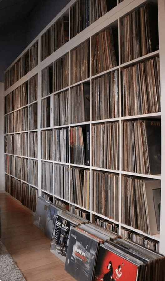 a huge wall of records - rock vinyl revival